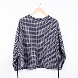 Zara gray checkered drawstring tunic sweater NWT